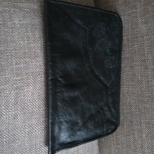 Floral Embossed Leather Clutch